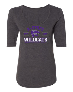 Women's K-State Wildcats Premium Tri-Blend Scoop Neck Tee Shirt - Arch K-State Wildcats EST 1863