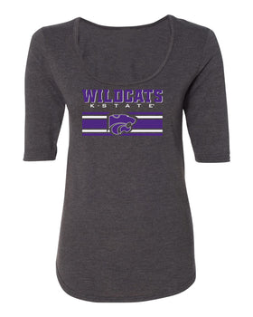 Women's K-State Wildcats Premium Tri-Blend Scoop Neck Tee Shirt - Wildcats Stripe Powercat