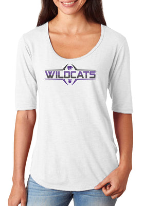 Women's K-State Wildcats Premium Tri-Blend Scoop Neck Tee Shirt - Striped WILDCATS Football Laces