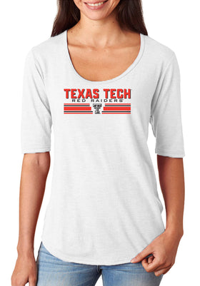Women's Texas Tech Red Raiders Premium Tri-Blend Scoop Neck Tee Shirt - Double T Horiz Stripe