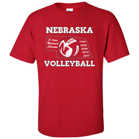 Nebraska Volleyball 5-Time National Champions Tee Shirt