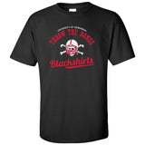 Nebraska Husker Tee Shirt - Script Blackshirts THROW THE BONES