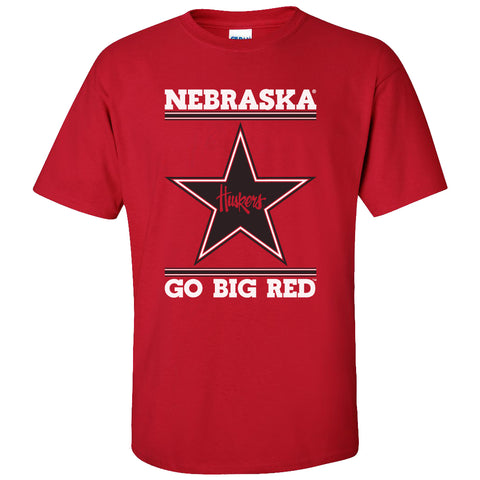 Nebraska Husker Tee Shirt - Star Huskers GO BIG RED