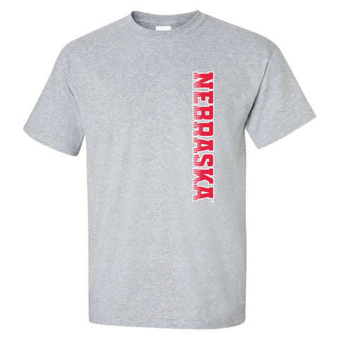 Nebraska Huskers Tee Shirt - Vertical Nebraska Red & White Fade