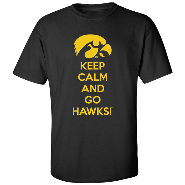 Iowa Hawkeyes Tee Shirt - Keep Calm and Go Hawks