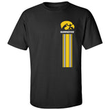 Iowa Hawkeyes Tee Shirt - IOWA Hawkeyes Vertical Stripe with Tigerhawk