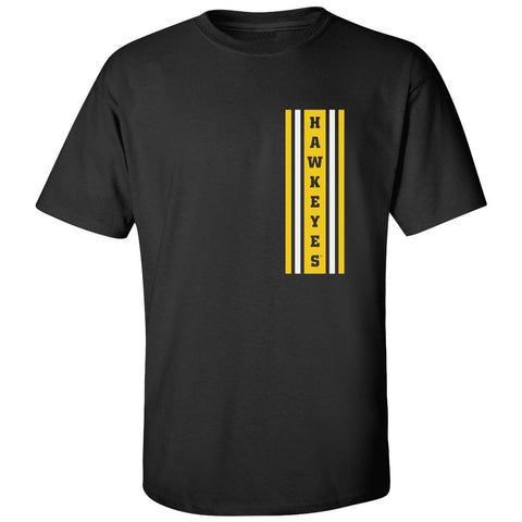 Iowa Hawkeyes Tee Shirt - Vertical Stripe with HAWKEYES