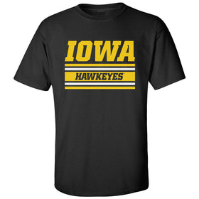 Iowa Hawkeyes Tee Shirt - Horizontal Stripe Italic Iowa HAWKEYES
