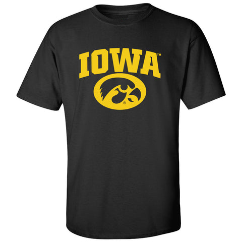Iowa Hawkeyes Tee Shirt - Arched IOWA with Tigerhawk Oval