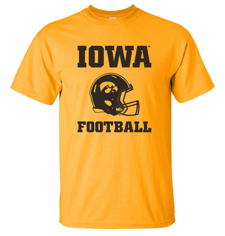 Iowa Hawkeyes Tee Shirt - Iowa Football Helmet on Gold