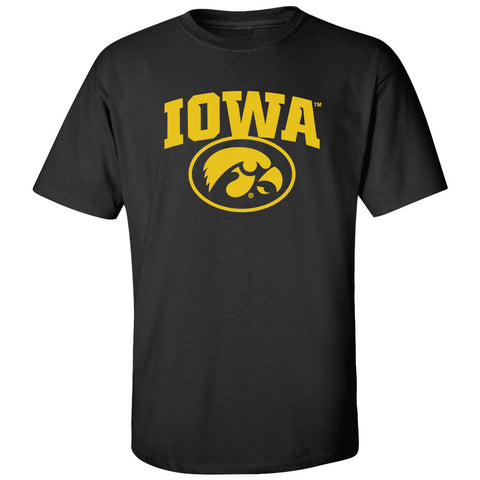 Iowa Hawkeyes Tee Shirt - IOWA Oval Tigerhawk on Black
