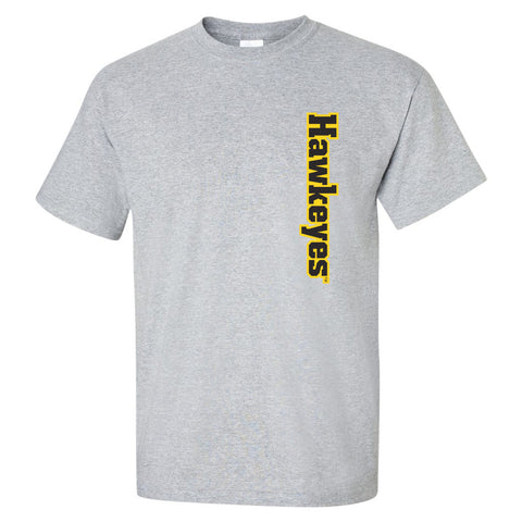 Iowa Hawkeyes Tee Shirt - Vertical Offset Hawkeyes on Gray