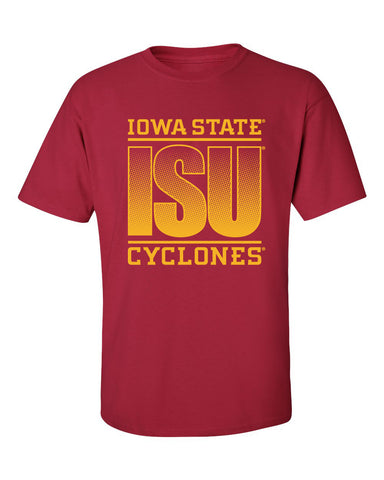 Iowa State Cyclones Tee Shirt - ISU Fade Gold on Cardinal