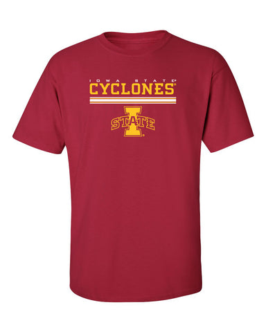 Iowa State Cyclones Tee Shirt - I-State Logo with Horizontal Stripe