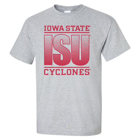 Iowa State Cyclones Tee Shirt - ISU Fade Red on Gray