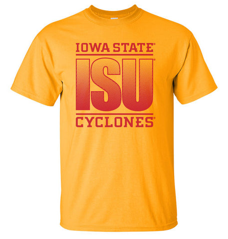 Iowa State Cyclones Tee Shirt - ISU Fade Red on Gold