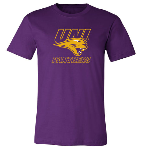 Northern Iowa Panthers Tee Shirt - Gold UNI Panthers Logo on Purple