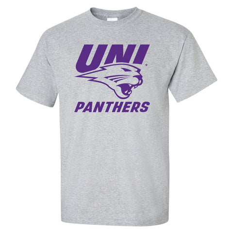 Northern Iowa Panthers Tee Shirt - Purple UNI Panthers Logo on Gray