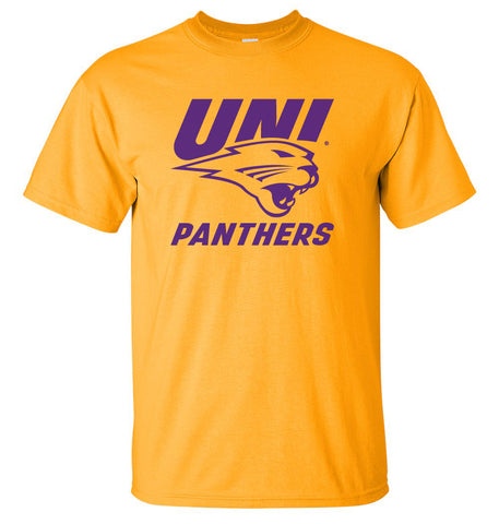 Northern Iowa Panthers Tee Shirt - Purple UNI Panthers Logo on Gold
