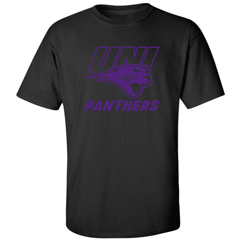 Northern Iowa Panthers Tee Shirt - Purple UNI Panthers Logo on Black