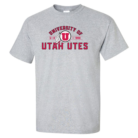 Utah Utes Tee Shirt - U of U Arch with Circle Feather Logo
