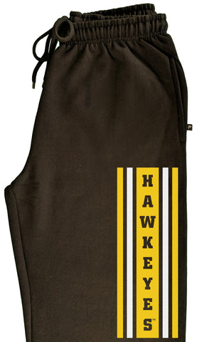 Iowa Hawkeyes Premium Fleece Sweatpants - Vertical Stripe with HAWKEYES