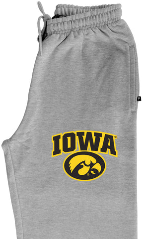 Iowa Hawkeyes Premium Fleece Sweatpants - IOWA Oval Tigerhawk on Gray