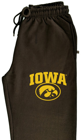 Iowa Hawkeyes Premium Fleece Sweatpants - IOWA Oval Tigerhawk on Black
