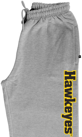 Iowa Hawkeyes Premium Fleece Sweatpants - Vertical Offset Hawkeyes on Gray