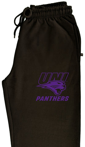 Northern Iowa Panthers Premium Fleece Sweatpants - Purple UNI Panthers Logo on Black