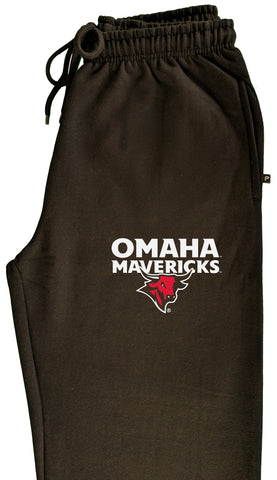 Omaha Mavericks Premium Fleece Sweatpants - Omaha Mavericks with Bull on Black