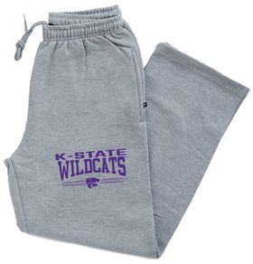 K-State Wildcats Premium Fleece Sweatpants - K-State Wildcats 3 Stripe Powercat