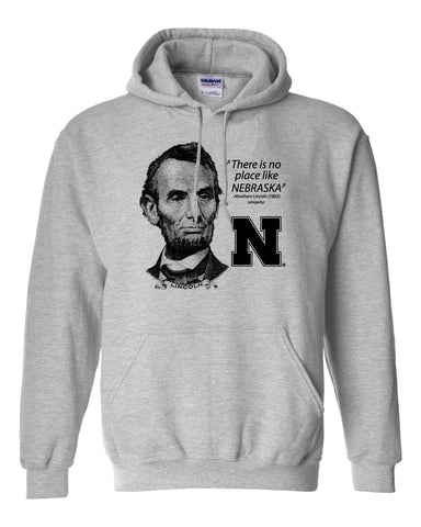 "Abe Lincoln ""No place like NEBRASKA"" Huskers Hooded Sweatshirt"