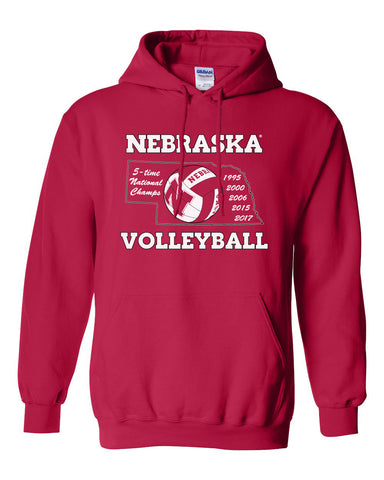 Nebraska Volleyball 5-Time National Champions Hooded Sweatshirt