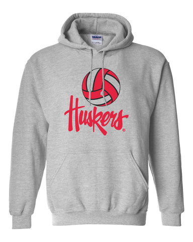 Nebraska Huskers Hooded Sweatshirt - Nebraska Volleyball Legacy Script Huskers