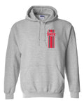 Nebraska Huskers Hooded Sweatshirt - Vertical Stripe Script Huskers