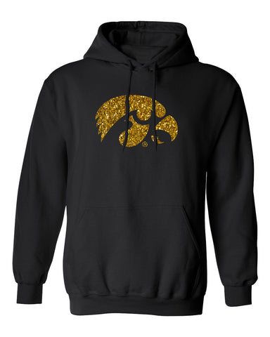 Iowa Hawkeyes Hooded Sweatshirt - Tigerhawk Logo in Gold Glitter