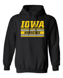 Iowa Hawkeyes Hooded Sweatshirt - Horizontal Stripe Italic Iowa HAWKEYES