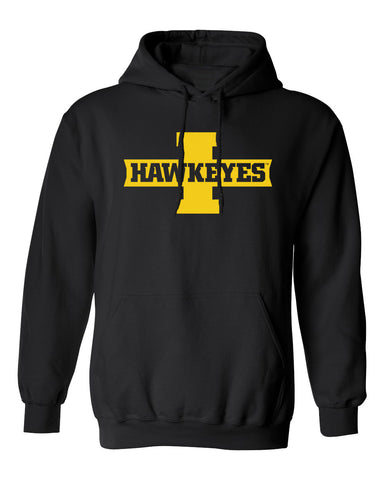 Iowa Hawkeyes Hooded Sweatshirt - Block I with HAWKEYES