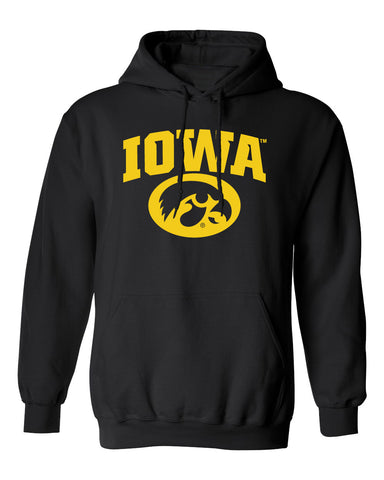 Iowa Hawkeyes Hooded Sweatshirt - Arched IOWA with Tigerhawk Oval
