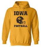 Iowa Hawkeyes Hooded Sweatshirt - Iowa Football Helmet on Gold