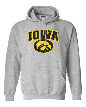 Iowa Hawkeyes Hooded Sweatshirt - IOWA Oval Tigerhawk on Gray