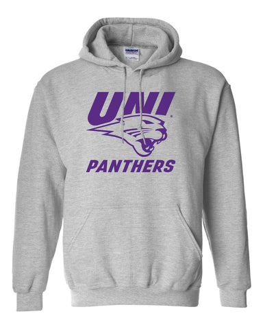 Northern Iowa Panthers Hooded Sweatshirt - Purple UNI Panthers Logo on Gray