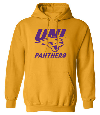 Northern Iowa Panthers Hooded Sweatshirt - Purple UNI Panthers Logo on Gold