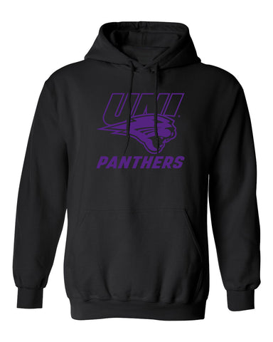 Northern Iowa Panthers Hooded Sweatshirt - Purple UNI Panthers Logo on Black