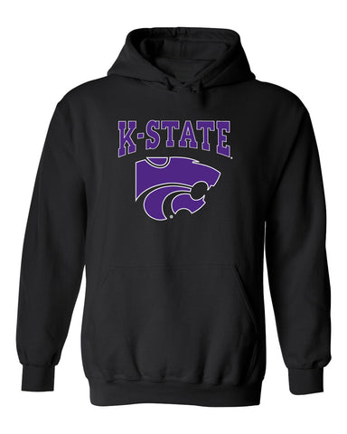 K-State Wildcats Hooded Sweatshirt - K-State Powercat with Outline
