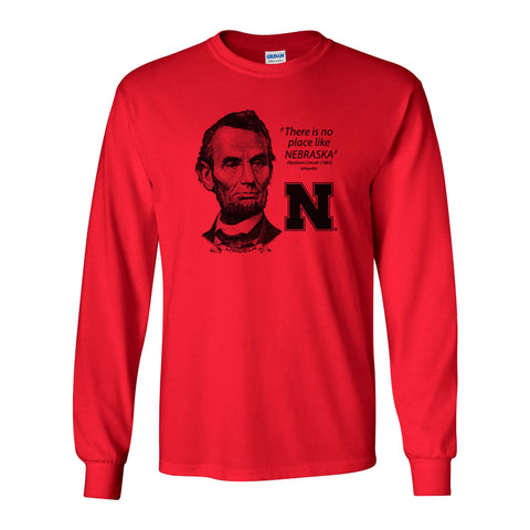 "Abe Lincoln ""No place like NEBRASKA"" Huskers Long Sleeve Tee Shirt"
