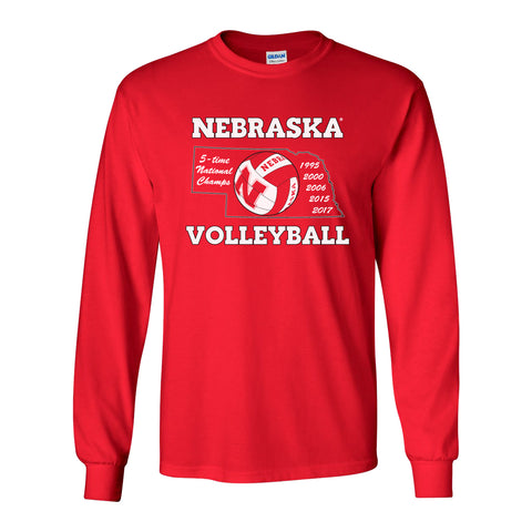 Nebraska Volleyball 5-Time National Champions Long Sleeve Tee Shirt
