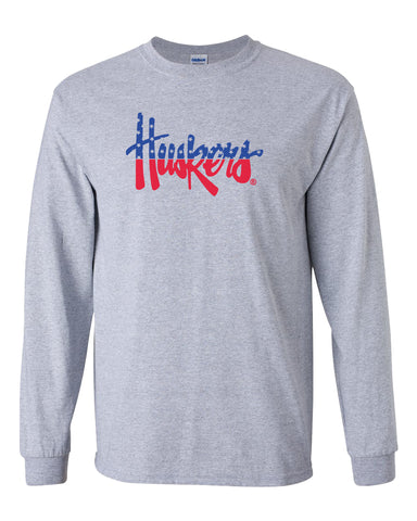 Nebraska Tee Shirt Long Sleeve Red White And Blue Script Huskers