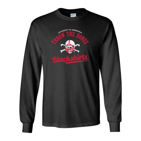 Nebraska Husker Tee Shirt Long Sleeve - Script Blackshirts THROW THE BONES